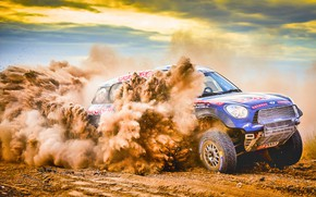 Picture Sand, Mini, Blue, Dust, Sport, Speed, Race, Skid, Rally, Rally, The front, Raid, MINI Cooper, …