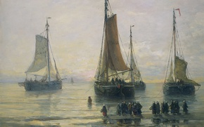 Wallpaper sail, seascape, people, Scheveningse Fishing boats at Anchor, Hendrik Willem Mesdag, ship, oil, boat, canvas, ...