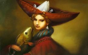Picture fish, Surrealism, Lazarev I. A, Female Freud