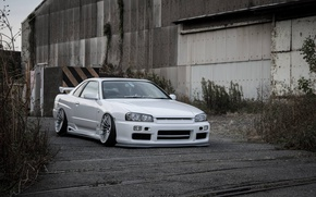 Picture white, nissan, turbo, white, wheels, skyline, japan, Nissan, jdm, tuning, gtr, front, r34, face, low, …