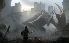 Picture dragon, knight, aproaching a dragon, Jan Ditlev
