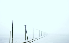 Picture field, fog, power lines
