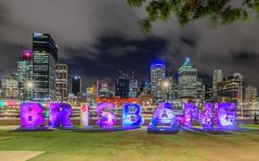 Picture night, lights, skyscrapers, Australia, megapolis, Brisbane