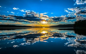 Picture lake, reflection, sunrise, dawn, morning, Canada, Canada, British Columbia, British Columbia, Beaver Lake, Lake Country, …