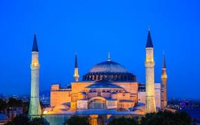 Picture night, lights, Istanbul, Turkey, Hagia Sophia