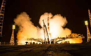 Wallpaper NASA, Soyuz MS-08, start