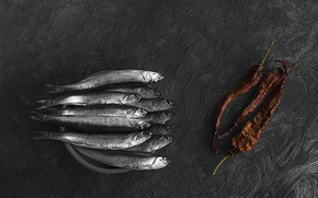 Picture treatment, fish, pepper