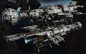 Picture space, ships, stars, Fractured Space, USR Assassin