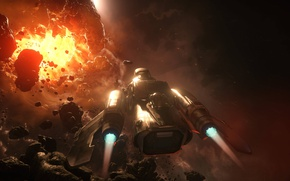 Picture space, the explosion, starship, Star Citizen, Freelancer