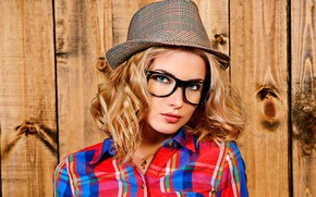 Picture look, background, Board, portrait, hat, makeup, glasses, hairstyle, blonde, shirt, beauty