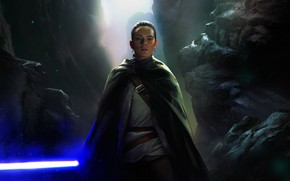 Wallpaper jedi, rey, Star Wars: The Last Jedi, art