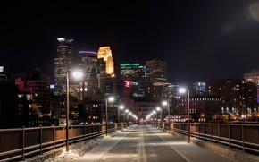 Wallpaper USA, lights, night, lights, home, Minneapolis, Minnesota, snow, bridge