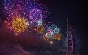 Picture the city, new year, Dubai, UAE, fireworks, fireworks