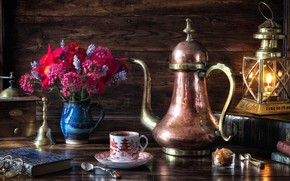 Wallpaper coffee grinder, lantern, glasses, still life, lamp, coffee, bouquet, books, style, coffee pot, flowers
