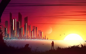 Picture city, fantasy, sunset, science fiction, birds, sun, people, sci-fi, digital art, buildings, artwork, skyscrapers, fantasy …