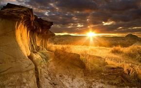 Picture rays, sunset, rocks, Canada, Albert, Dinosaur Provincial Park