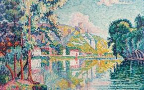 Picture trees, landscape, river, picture, Paul Signac, pointillism, Les Andelys. Chateau Gaillard.