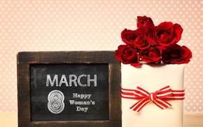 Wallpaper flowers, background, gift, plate, roses, red, March 8, ribbon, date, box, women's day