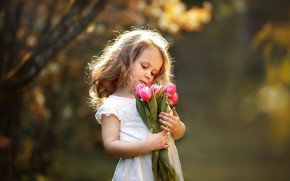 Wallpaper flowers, girl, child, bouquet, Anna Zinn, tulips