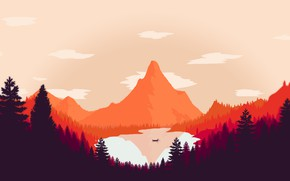 Picture Mountains, The game, Lake, Forest, Boat, View, Hills, Landscape, Art, Campo Santo, Firewatch, Fire watch