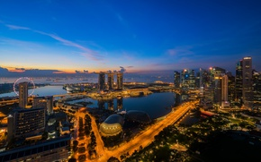 Picture night, lights, skyscrapers, panorama, Singapore