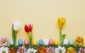 Picture flowers, spring, colorful, Easter, tulips, chrysanthemum, flowers, tulips, spring, Easter, eggs, decoration, Happy, the painted …