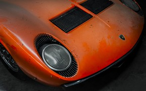 Picture Lamborghini, Dust, Machine, Orange, 1971, Lights, Car, Car, Supercar, The front, Old, Lamborghini Miura, P400, ...