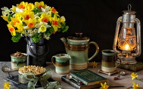 Picture books, lamp, cake, dishes, still life, daffodils
