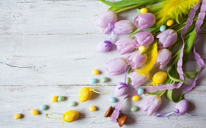 Picture holiday, bouquet, Easter, tulips, wood, flowers, decor, Easter, eggs, candy