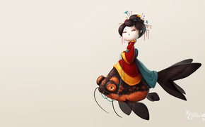 Picture girl, fish, art, Illustrator, Geisha Fish, Rocío García ART