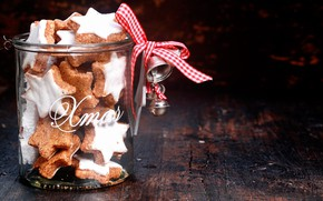 Picture holiday, new year, Christmas, cookies, Bank, stars, bells, ribbon, bokeh