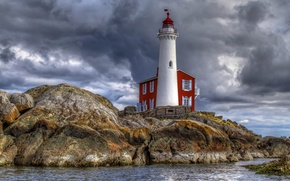 Picture sea, rocks, lighthouse, Canada, British Columbia, Colwood