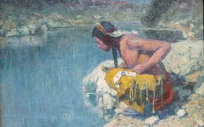 Picture river, Eanger Irving Couse, c. 1921, Indian at Sacred Lake