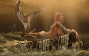 Picture sea, wave, storm, face, stones, rain, hair, ship, mermaid, tail