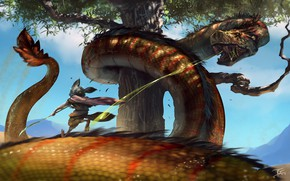 Picture tree, snakes, fight, animal, The Battle