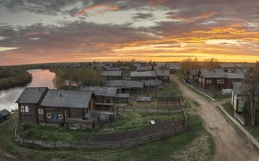 Wallpaper river, summer, Arkhangelsk oblast, the evening, Kimzha, village