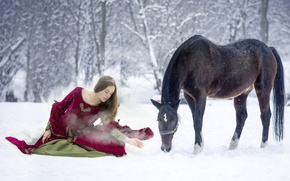 Picture winter, girl, snow, horse, dress