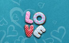 Wallpaper letters, food, cookies, love, glaze, cookies