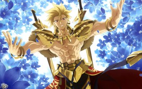 Picture gold, Fate Stay Night, armor, anime, Gilgamesh, warrior, manga, powerful, strong, light novel, Tupe Moon