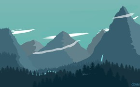 Picture Mountains, The game, Forest, Landscape, Art, Campo Santo, Firewatch, Fire watch