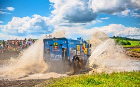 Picture The sky, Water, Clouds, Grass, Sport, Speed, People, Race, Master, Dirt, Squirt, Russia, Kamaz, Rally, …