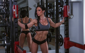 Wallpaper bodybuilder, fitness, workout, Female, mirror, pose