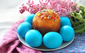Wallpaper Easter, lilac, eggs, cake
