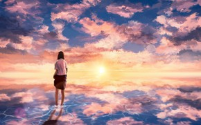 Picture sea, the sky, girl, sunset