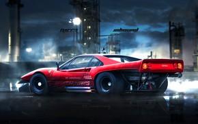 Picture Red, Auto, Figure, Machine, Background, Ferrari, Car, Car, Art, Art, GTO, Rendering, 288, Ferrari GTO, …