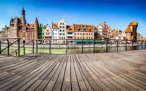 Picture the sky, river, ship, home, sailboat, Poland, channel, Sunny, promenade, Gdansk
