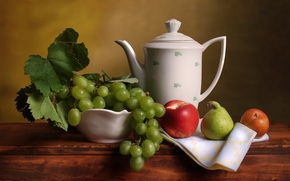 Picture Apple, kettle, grapes, pear, still life