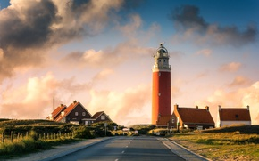 Picture road, house, lighthouse, Netherlands, Vlieland