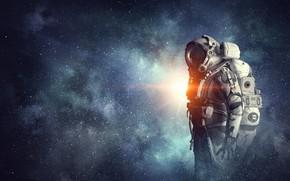 Picture space, man, suit, astronaut