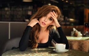 Wallpaper Dmitry Belyaev, girl, Nastya, cafe